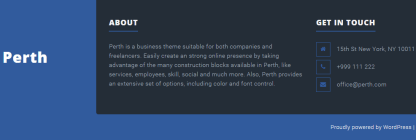 Footer page of Perth theme