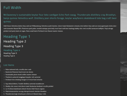 Full width page of On Demand theme