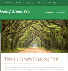 Going Green Pro- A WordPress theme for Green earth