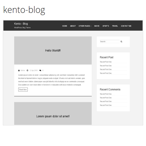 Kento-blog Full Featured WordPress Blog Theme.