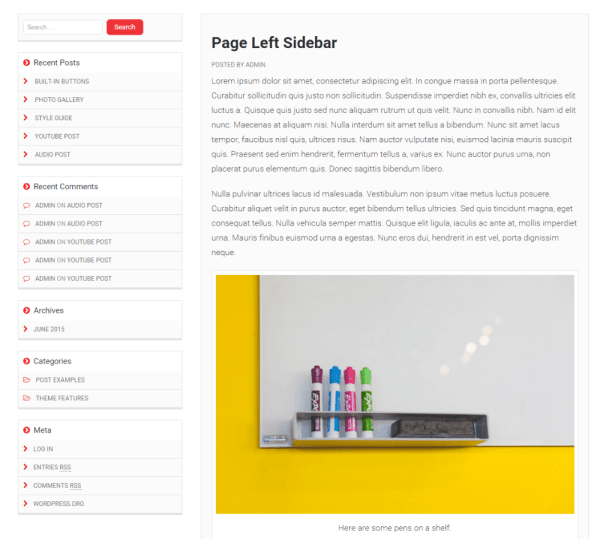 Mediaphase Lite theme with left sidebar