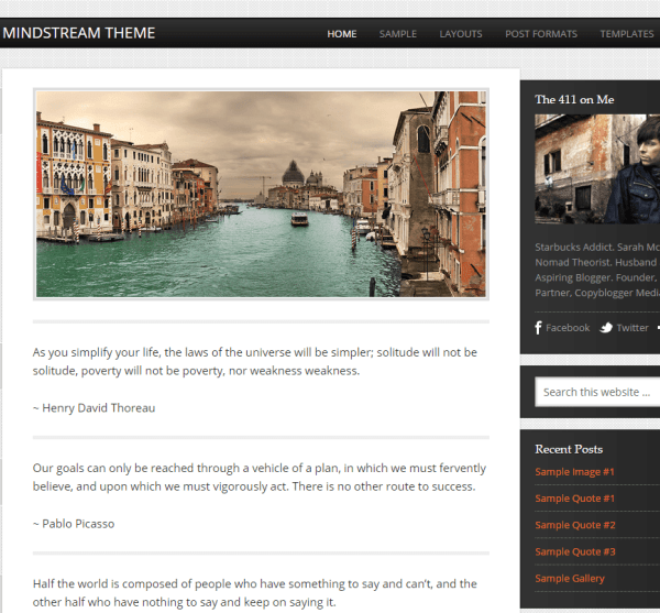 Mindstream- A responsive blogging WordPress theme