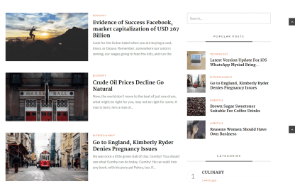 NewMagz- Blog page layout with right sidebar