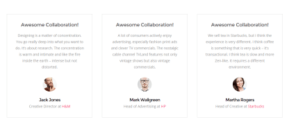 Pitch- Testimonials page built with page builder