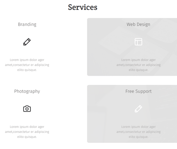 Services shown by Agenzy theme.