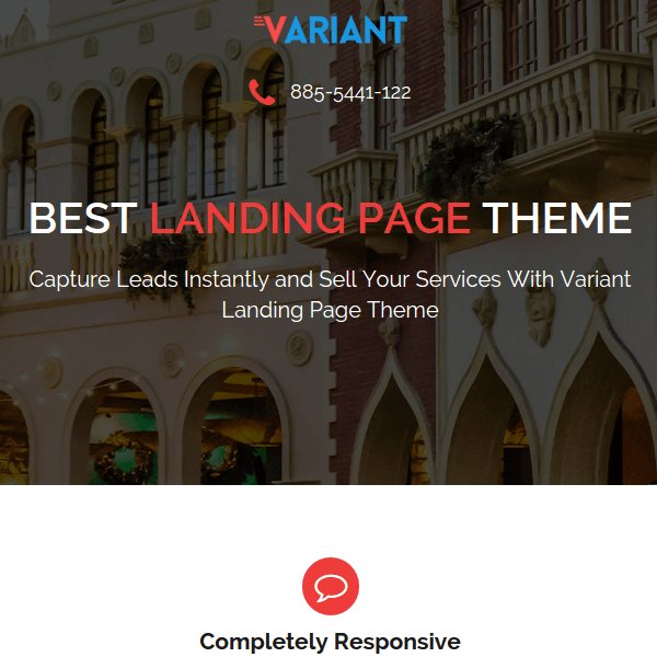 Variant is a Landing Page WordPress Theme