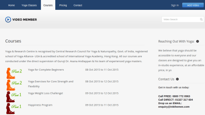 Video Member Courses Page