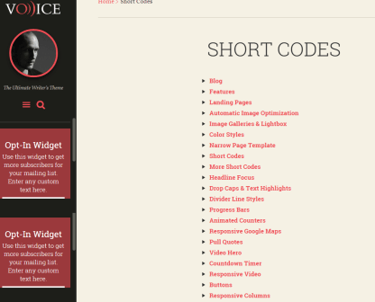 Voice - Generated shortcodes for this theme