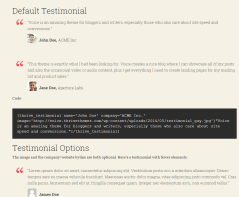 Voice – shortcodes used for creating testimonials.
