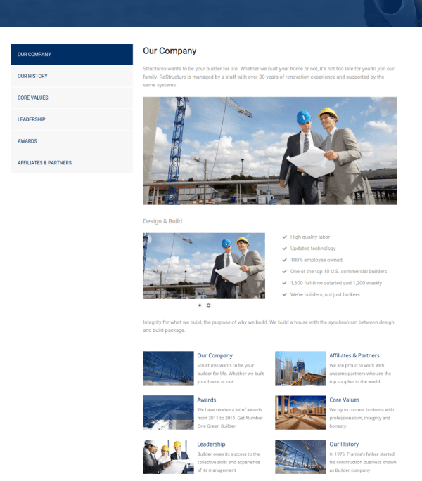 About Company Page - Builder