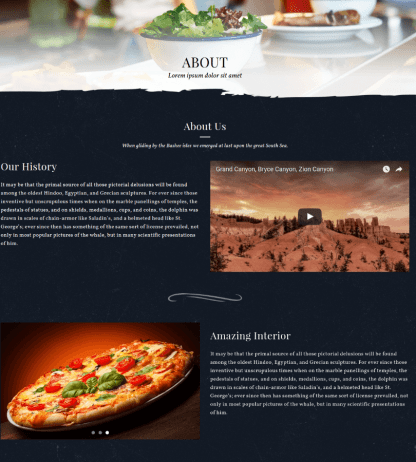 About Page - Food & Pizzeria