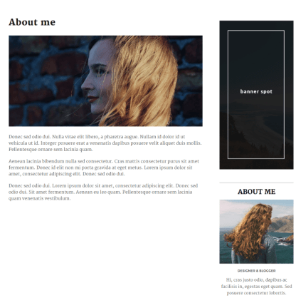 About me page of Maybach theme