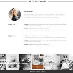 About me page of Milja theme