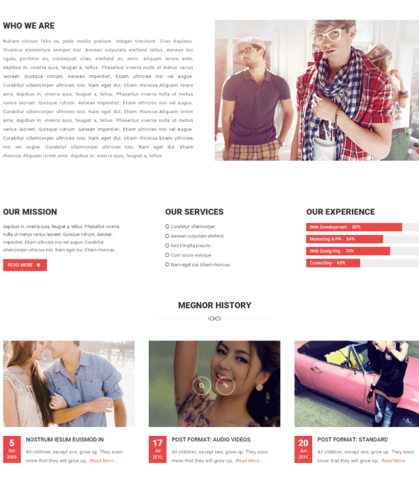 About us page of Fashion Feast theme