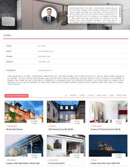 Agent Page - Javo Home
