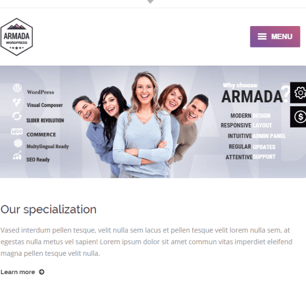 Armada – Responsive Photography WordPress theme