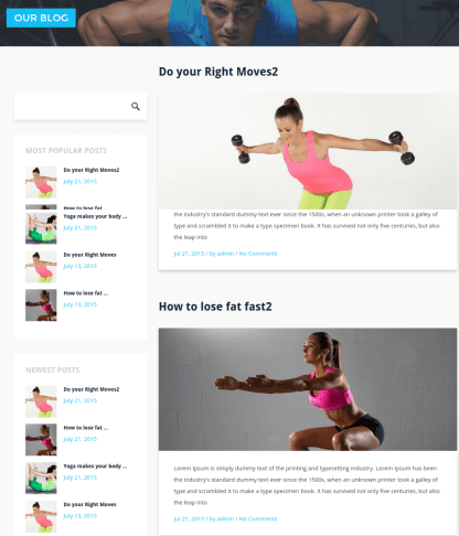 Blog Page with left sidebar - Stayfit