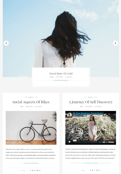 Blog page of INK theme