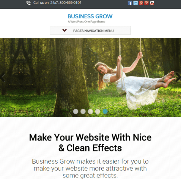 Business Grow- Responsive One page WordPress theme