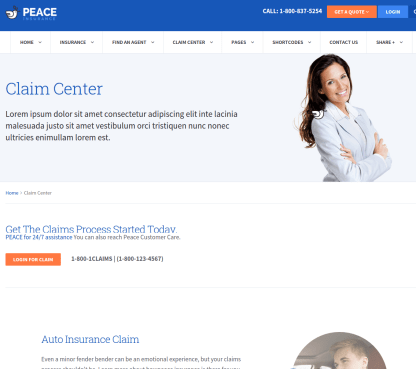 Claim center deatils of Peace