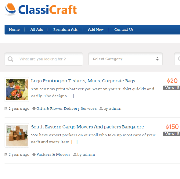 ClassiCraft – Classified listing WordPress theme