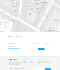 Contact and Footer section of Daily Post theme