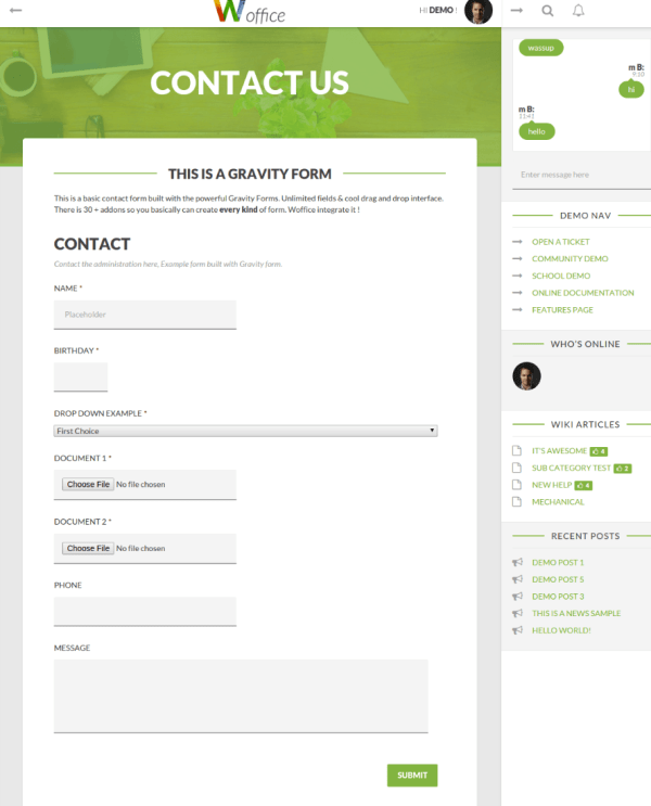 Contact page - Woffice