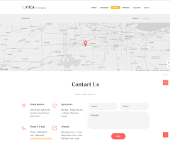 Contact page of Unica theme