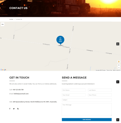 Contact us page of FastEx theme