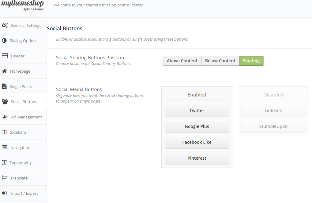 Cool - Social Buttons Settings