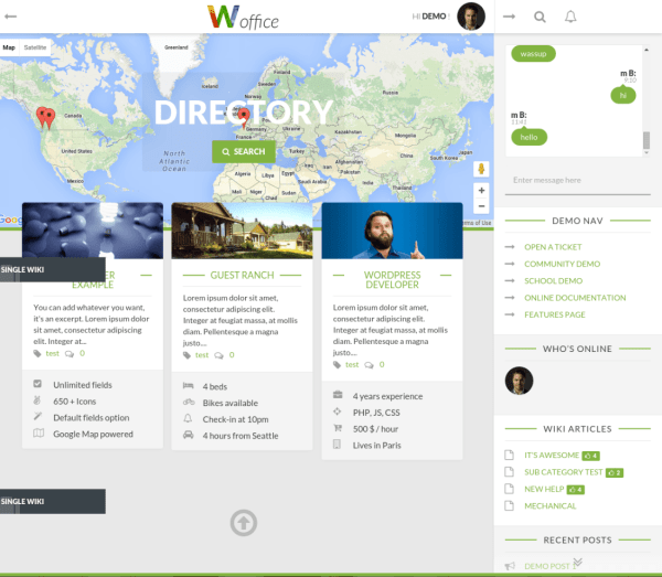 Directory page - Woffice