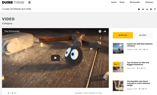 Duine Video Category Page