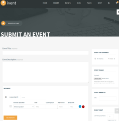 Event Submit page community Ivent theme