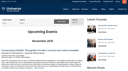 Event page of Universo