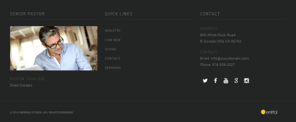 Footer secion of Church Suite theme