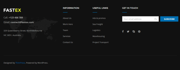 Footer section of FastEx theme