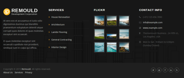 Footer section of Remould theme
