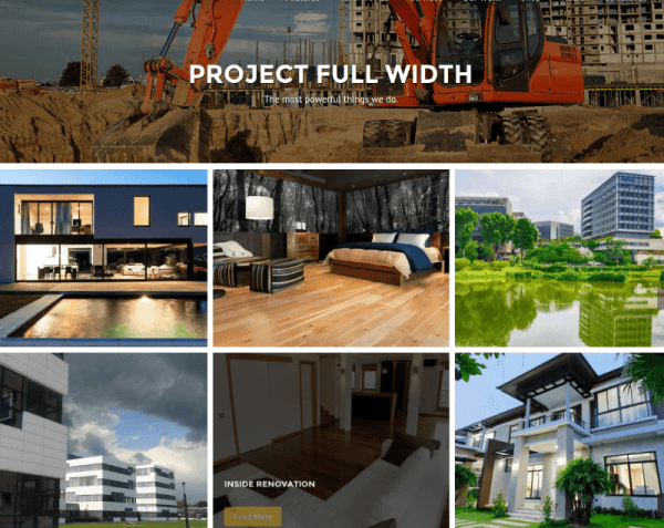 Full width project Page Construction Theme