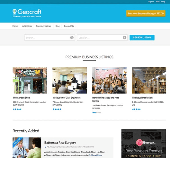 GeoCraft – City Business Directory  WordPress theme