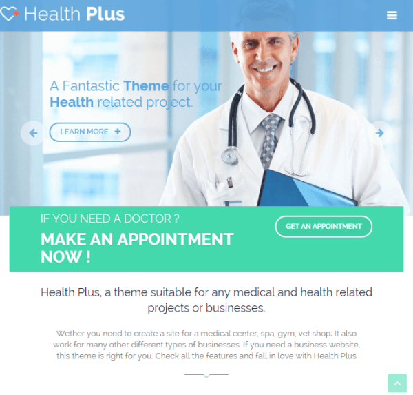 Health Plus – WordPress theme for health related WordPress theme
