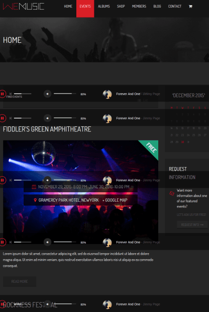 Home and blogs page of WeMusic