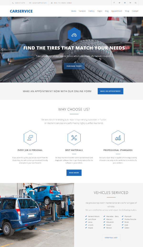 Homepage of Car Service theme