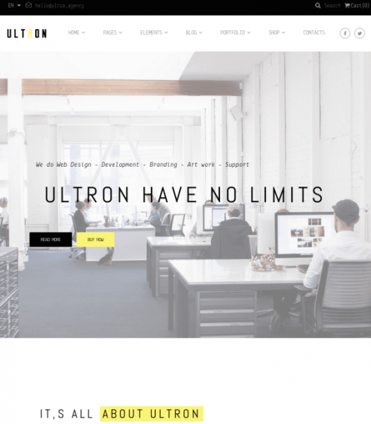 Homepage of Ultron