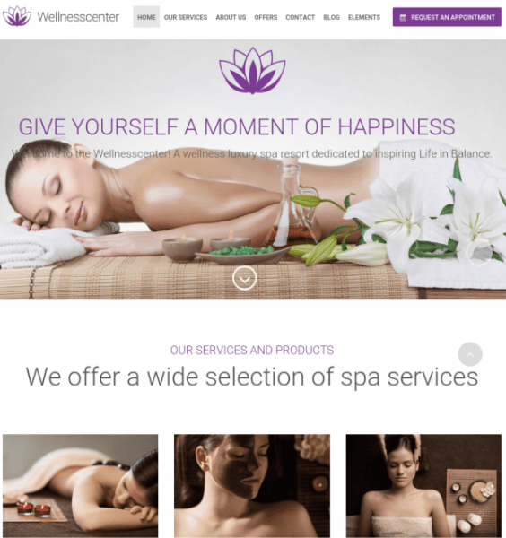 Homepage of WellnessCenter
