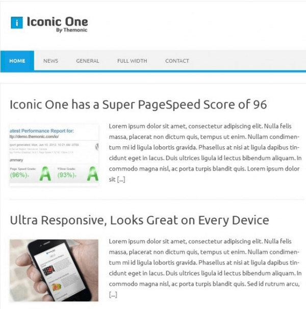 Iconic one - WordPress blogging theme which is fully responsive