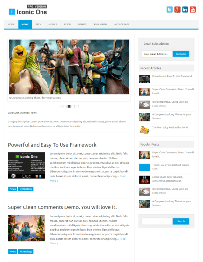 News page of Iconic One Pro theme