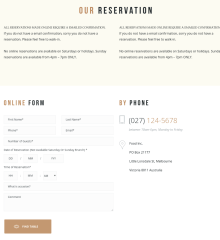 Reservation Page – Gourmet