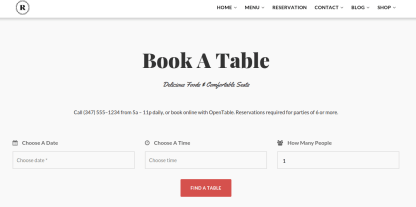 Reservation page of restaurant