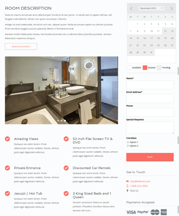 Rooms with sidebar Page - Bellevue