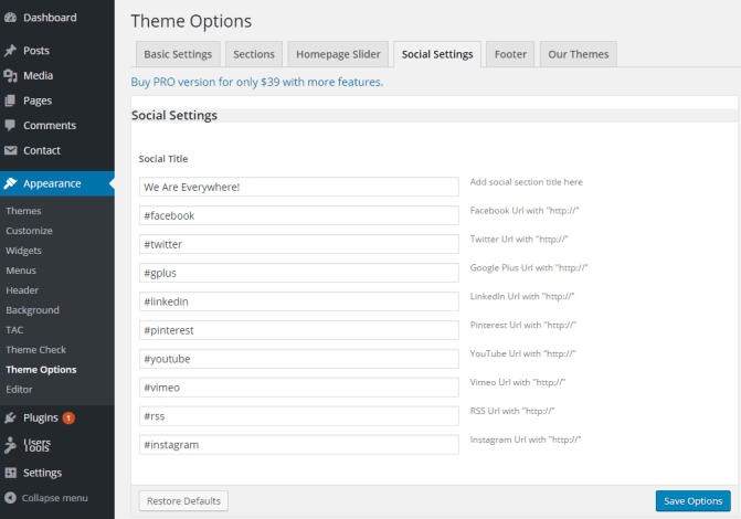 SKT White - Theme options - Social sharing